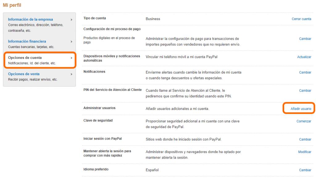 usuarios a una cuenta de PayPal