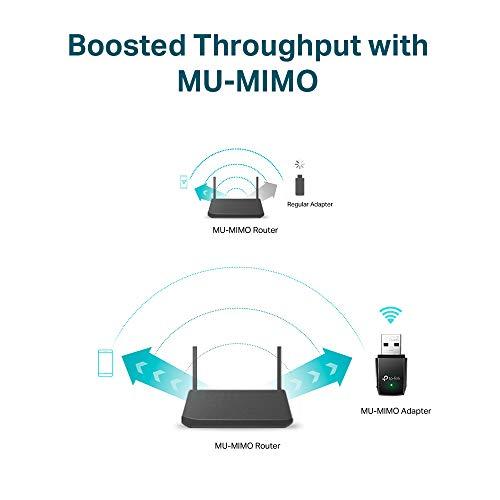 TP-Link Adaptador wifi USB Receptor WiFi con Doble Banda Tarjeta de Red con doble banda 1300Mbps, MU-MIMO, USB 3.0, Tamaño Mini (Archer T3U) 4