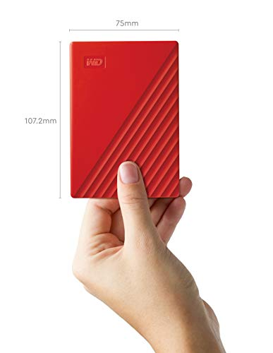 WD 2 TB My Passport disco duro portátil con protección con contraseña y software de copia de seguridad automática, Compatible con PC, Xbox y PS4, color Rojo 3