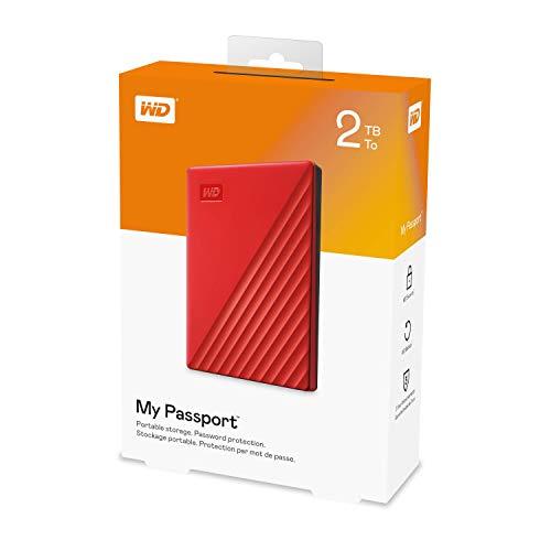 WD 2 TB My Passport disco duro portátil con protección con contraseña y software de copia de seguridad automática, Compatible con PC, Xbox y PS4, color Rojo 6