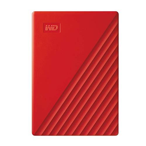 WD 2 TB My Passport disco duro portátil con protección con contraseña y software de copia de seguridad automática, Compatible con PC, Xbox y PS4, color Rojo 1