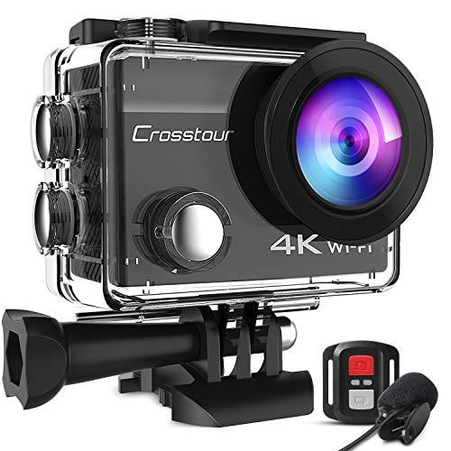 Crosstour CT8500 Cámara Deportiva 4K Wi-Fi 20MP (Cámara de Accion Acuatica de 40M con Micrófono Externo y Control Remoto… 1