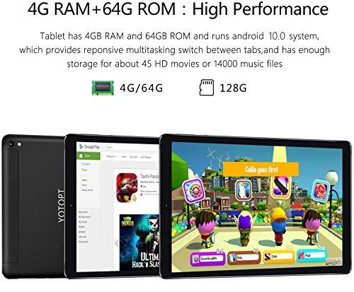 Tablet 10 Pulgadas YOTOPT, 4GB de RAM y 64 GB de Memoria, Android 10.0 Dobles SIM y TF, GPS WiFi Soporte (Negro 2