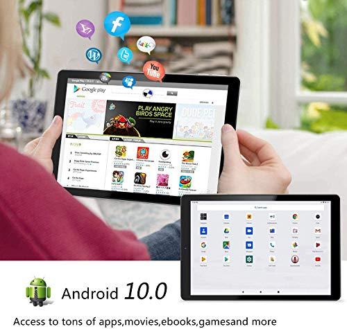 Tablet 10 Pulgadas YOTOPT, 4GB de RAM y 64 GB de Memoria, Android 10.0 Dobles SIM y TF, GPS WiFi Soporte (Negro 4