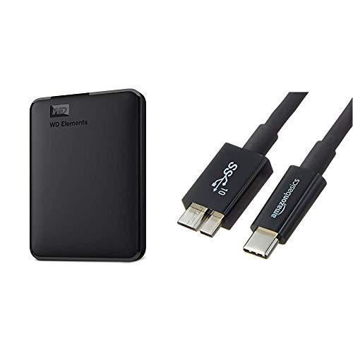 WD Elements - Disco Duro Externo portátil de 1 TB con USB 3.0, Color Negro + Amazon Basics - Funda de Disco Duro, Color… 1
